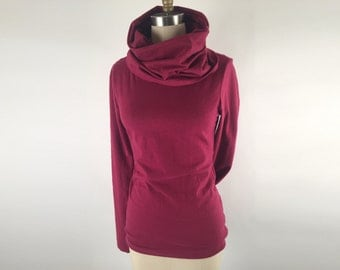 Alena Designs - Nocturnette - Cowl Neck Top Sweater Hemp Cotton Plum