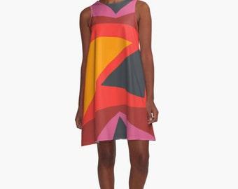 A Line Dress for Woman, Modern Dresses, Geometric Dress, Girls Dress, Colorful Dress, Loose dress, Bold colors Dress, Gifts for her