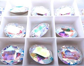 1 Clear Crystal AB Swarovski Crystal Stone Oval 4120 18mm x 13mm