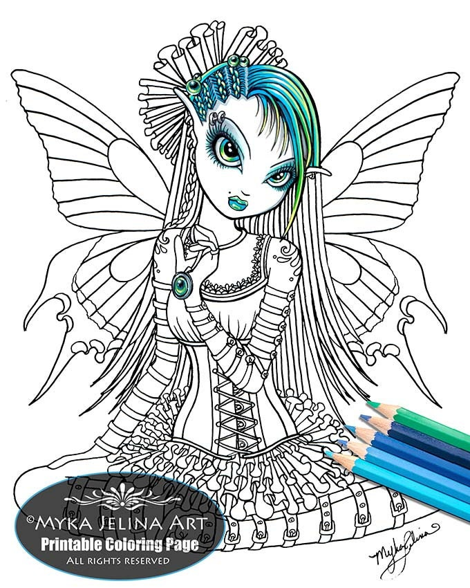 katy butterfly cute gothic fairy digital download coloring. Black Bedroom Furniture Sets. Home Design Ideas