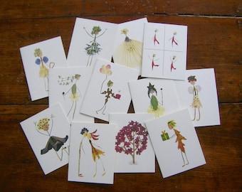 STARTER PACK - Wholesale order of 12 of my best-selling Petal People garden botanical notecards - Pressed flower art - Blank inside