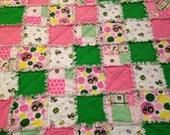 "John Deere Pink Rag Quilt Tractor 46""x46"" Cotton Flannel Girl Blanket Baby Toddler Gift Birthday Baby Shower"