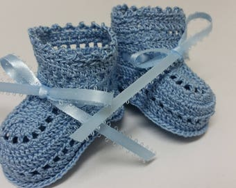 Crochet Baby Boy Booties, Christening, Blue Booties, Newborn, Reborn Doll, Baby Shower Gift, Baptism