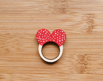 Polka Dot Red Heart Love Wooden Ring . Wooden Jewelry Jewellery . Gift for Her . Valentine's . Wooden Anniversary Ring . Gift for Teens