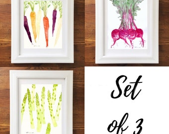 Vegetable Art. Vegetable Art Prints. Watercolor Veggies. Set of 3. Kitchen Art. Home Decor. Veggie Art. 8x10 Print. Ready to Frame. Wall Art
