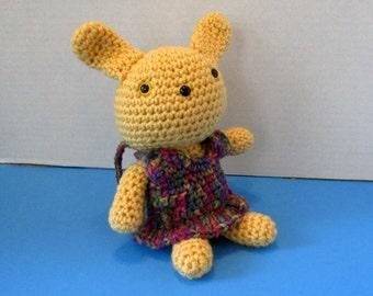 Plush Girl Bunny Doll & 3-piece Wardrobe.  Bunny Rabbit Doll. Stuffed Toy Amigurumi Rabbit. Bunny Girl Plush Animal Doll with Three Dresses