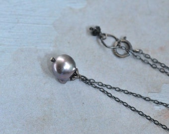 Tahitian Pearl Necklace - Oxidized Sterling Silver Necklace - Tourmaline Necklace - Grey Pearl Drop Necklace - Dainty Necklace