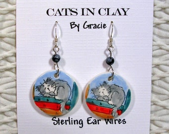 Grey Cat On Books Clay Earrings Handmade Round French Wire With Stone Bead by GMS