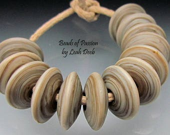 Artisan Beads of Passion Leah Deeb Lampwork - 12 Earthy Clay Striated Discs