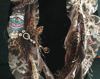 Hobo earthy Fiber Necklace Scarf