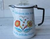 Vintage White Enamel Coffee Pot, Swedish, Stove top, Percolator Style,  Enamelware, Swedish Flowers and Words