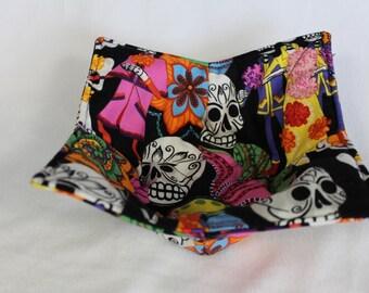 Reversible Quilted Microwave Bowl Cozy Pot Holder Bowl Holder Skulls