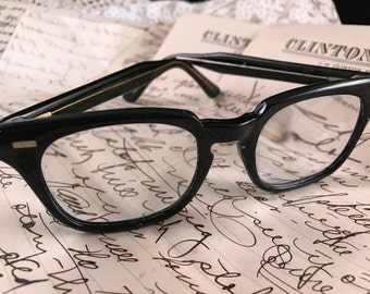 Vintage 1960's Era Black Plastic Men's Buddy Holly Style Eyeglasses