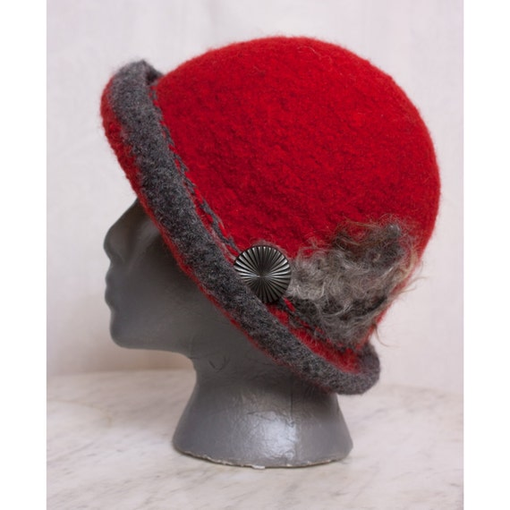 Custom Order Hand Knit Felted Wool Brimmed Hat