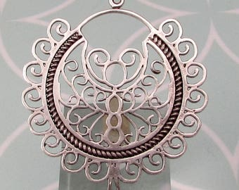 Amazing Boho Filigree Pendant, Antique Silver, AS450