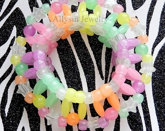 3D Glow Kandi Cuff Bracelet, Pastel Kandi, Star Cuff, Disc Style, Rainbow Glow in the Dark Cuff, Rave Plur, Edm Accessories