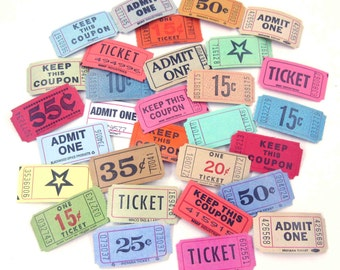 Vintage Assortment of Carnival or Raffle Tickets Never Used Set of 30