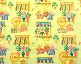 Vintage Retro Yellow Bridal Shower Wrapping Paper or Gift Wrap with Carts Flower Pots Gifts
