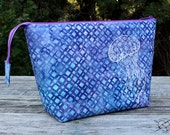 Project Bag Knitting Crochet Supply Bag Embroidered Jellyfish