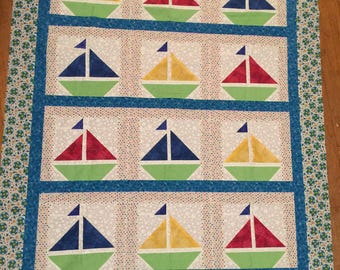 New Sailboat Quilt Top Measures 42 x 52 Inches