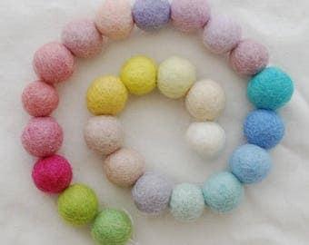 100% Wool Felt Balls - 25 Count - 2cm - Assorted Light, Pale and Pastel Colours