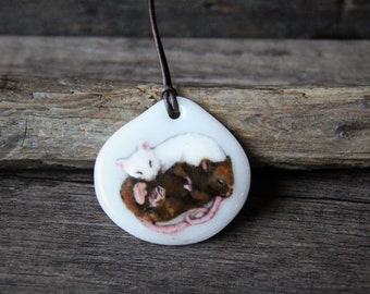 Rats necklace -  fused glass pendant - sleepy rat  jewelry