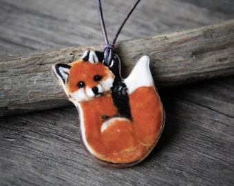 Amazing Baby Fox  -  Fused glass pendant