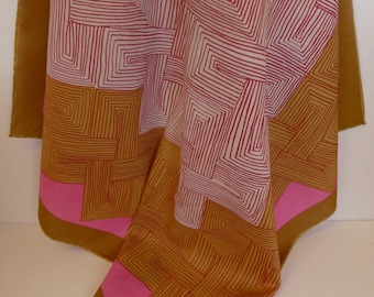 """Vintage Vera Polyester Abstract Scarf 25"""" Square"""