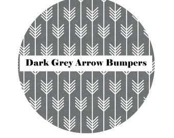Crib Bumpers in DARK GREY ARROW-Crib Bedding-Arrow Crib Bedding-Baby Bedding-Black-BoyCrib Bedding