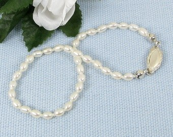 Handknotted Tiny Pearl and Sterling Silver Bracelet