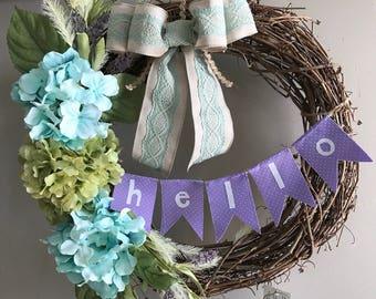 Spring Summer Hydrangea Grapevine Welcome Wreath, Hello Door Hanger, Front Door Wreath