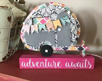 Vintage Camper Decor, Adventure Awaits Home Decor, Camper Decor