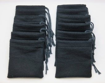 Set of 12, Black Flannel Cotton Hoo Doo,  Mojo Bags, Jewelry Pouches, Handmade