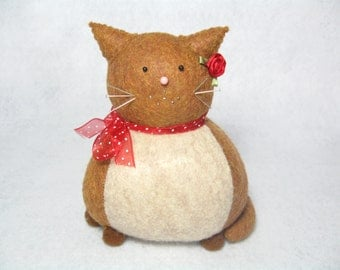 Caramel and cream cat pincushion, Felt animal pincushion, Sewing accessories, Cute pincushion, Cat gift, Gift for sewer, Cat lover, MTO