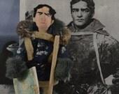 Ernest Shackleton, Historical Doll,  Miniature Size, Antartica Explorer, Unique Art