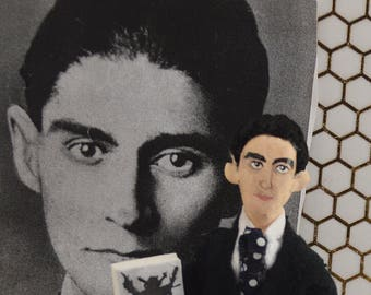 Franz Kafka, Author Doll, Miniature Sized , Art Collectible, Literary Figure, Holocaust History