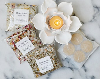 Lotus Bath Gift Set - A Luxurious Gift for Her with Organic Bath Salts, Handmade Ceramic Lotus Tealight Holder + 4 Beeswax Tealight Candles