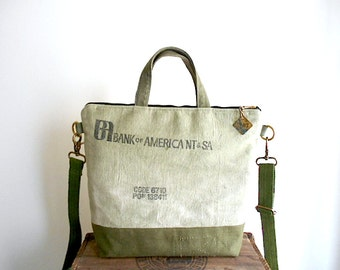 Vtg military & bank canvas crossbody bag - San Francisco Bank of America National Trust - eco vintage fabrics
