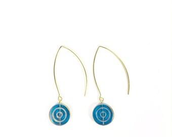 Blue and Gold Drop Earrings, Vintage Earrings, Drop Earrings, Gold Earrings