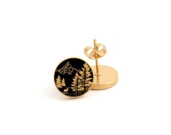 Tree and Mountain Outdoor Photo Earring Stud Earring Stainless Steel Earring (EP 824)