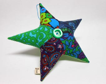 Large Fabric Star Ornament Decorative Home Decor OOAK