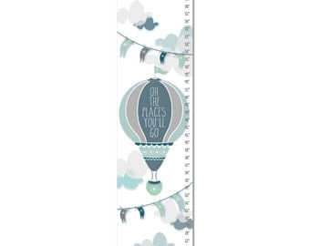 Custom Canvas Growth Chart - Oh The Places You'll Go Hot Air Balloon - Blue