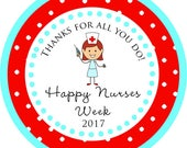 Nurse Appreciation Week Gift Nurses RN Thank You PERSONALIZED Stickers, Tags, Labels, or Cupcake Toppers, various sizes, printed & shipped