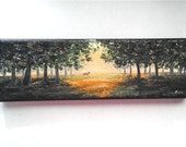 """Oil Painting Sunset Forest Deer 3"""" x 9"""" READY to SHIP"""