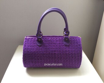 Purple crocheted round handbag purse women