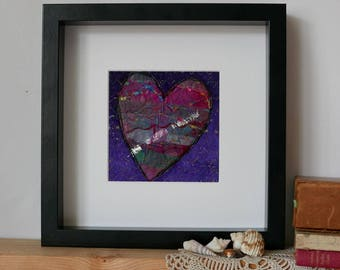 wall decor art, heart art, love heart, handmade textile art, gift for anniversary, modern art for the home, Love is Where the Heart is.