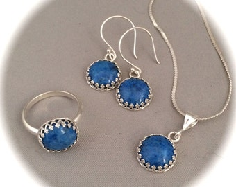 Denim Lapis Jewelry Set, Pendant, Earrings, Ring size 7.5, 12mm round, Blue, sterling silver setting