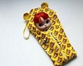 "The Original Blythe Sleepsack from PINKKIS: ""RELAX"" Bright Yellow ""Rilakkuma"" Bear Carrier for Blythe Dolls"