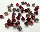 Destash Jewelry Making 40 Red and Silver Iridescent Glass Flower Beads