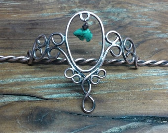 Copper Wire Hair Accessory with Turquoise Bear